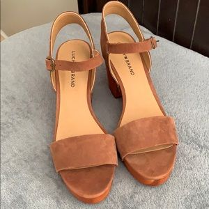 Lucky brand leather wedge sandals size 9.5 M